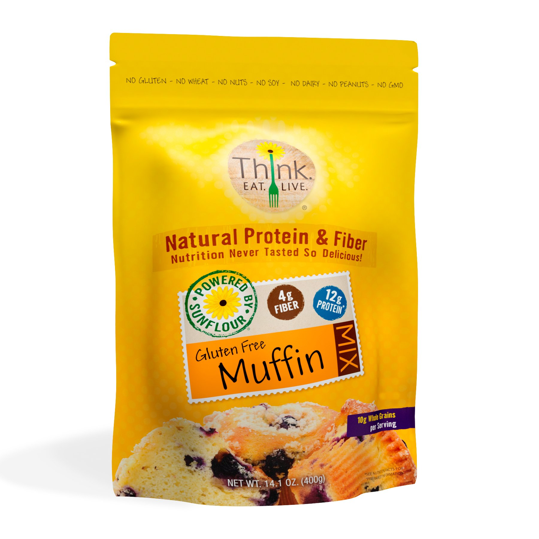 Think Eat Live Gluten Free Muffin Mix (14.1 oz.) | Sunflower Seed Flour, With Organic Natural Sweetener - High Protein, Quick and Easy Breakfast