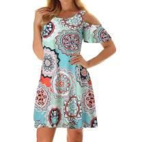 Tanst Sky Women Cold Shoulder Dress Floral Printed Short Sleeve Sundress with Pocket