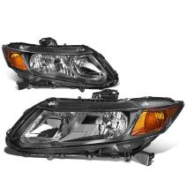 2Pcs Black Housing Amber Corner Left+Right Headlight Assembly Lamps Replacement for Honda Civic Coupe Sedan 12-15