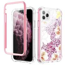 Caka Case for iPhone 11 Pro Case Glitter Liquid Flower Full Body Protection with Built in Screen Protector for Girls Women Girly Floral Bling Protective Case for iPhone 11 Pro (White)