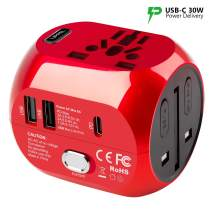 International Power Adapters Universal World Voltage Converter Set Down 220V to 110V for US to UK AU EU Worldwide Plug Over 200 Countries TryAce 2019 Upgraded All-in One 2000W Travel Adapter