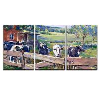 "wall26 - 3 Piece Canvas Wall Art - Landscape with Cows in Lower Saxony - Hand Painted Acrylic Paint Sketch on Board - Modern Home Decor Stretched and Framed Ready to Hang - 24""x36""x3 Panels"