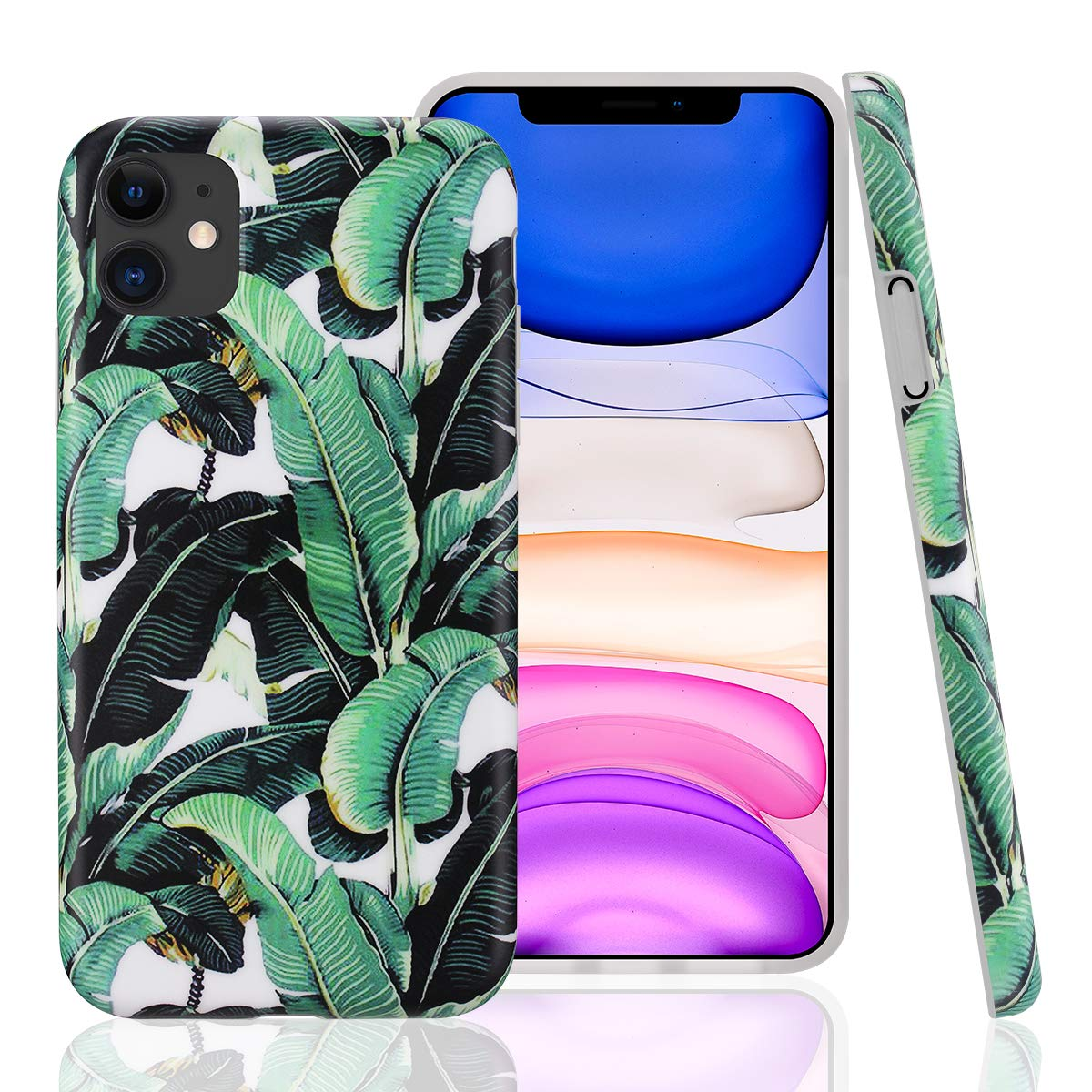 GOLINK Case for iPhone 11,Floral Series Slim-Fit Ultra-Thin Anti-Scratch Shock Proof Dust Proof Anti-Finger Print TPU Gel Case for iPhone XI 6.1 inch(2019 Release)-Leaves