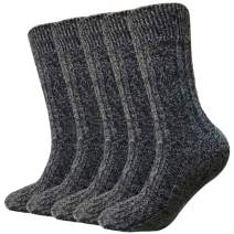 Mens Dress Socks 3/6 Pairs Classic Cotton Casual Socks for Office, Work, Business (04 Thick Black)