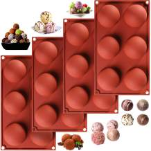 4 Pieces Silicone Chocolate Mold Large Semi Sphere Candy Cookie Mould Silicone Baking Mold for Party Jelly Ice Cube