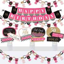 Big Dot of Happiness Chic 50th Birthday - Pink, Black and Gold - Banner and Photo Booth Decorations - Birthday Party Supplies Kit - Doterrific Bundle