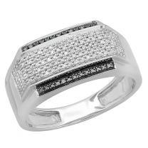 Dazzlingrock Collection 0.45 Carat (ctw) 14K Gold White & Black Diamond Men's Hip Hop Pinky Ring 1/2 CT