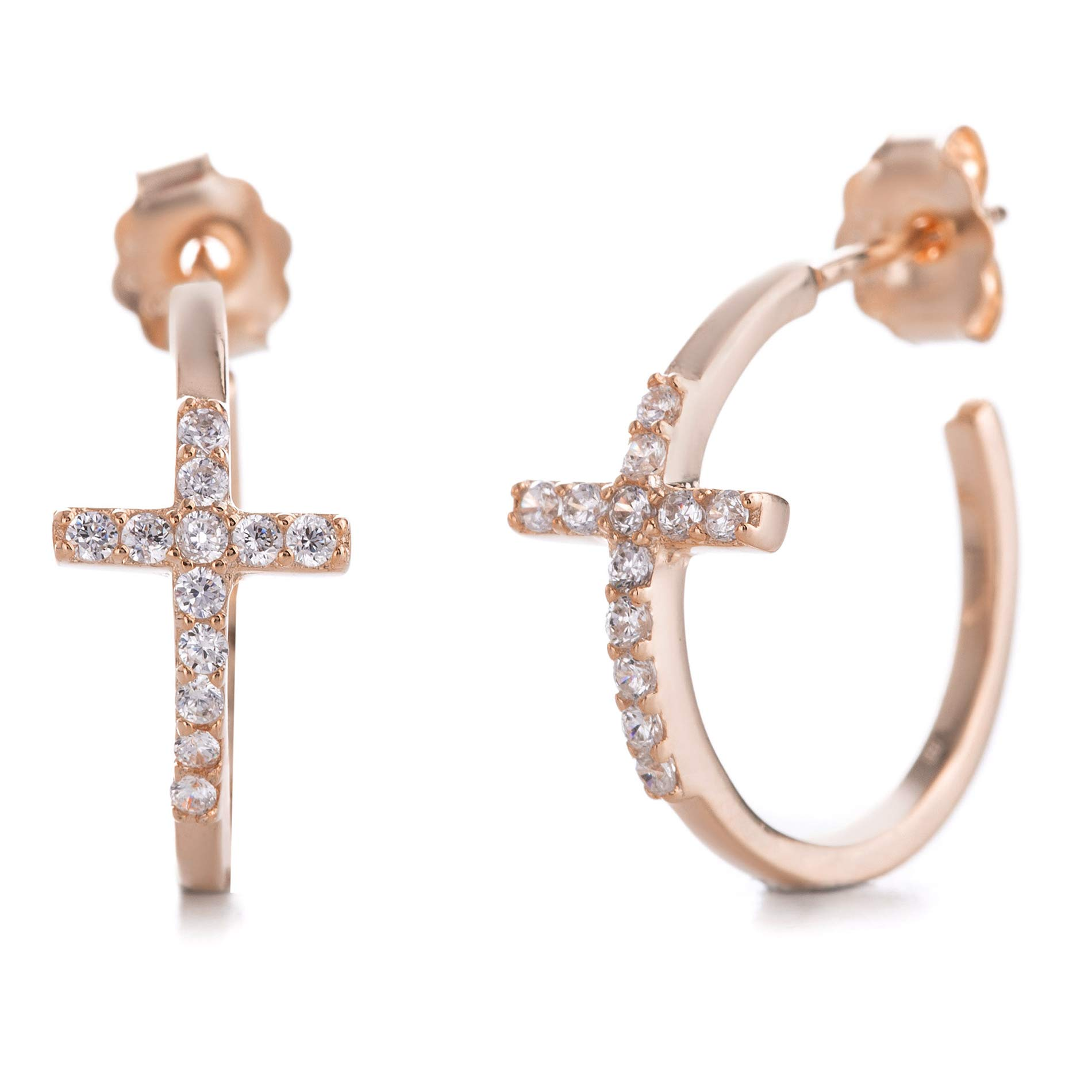 MIA SARINE Sterling Silver Cubic Zirconia Small Cross Hoop Earrings for Women with Post and Nut Backs (Various Colors)