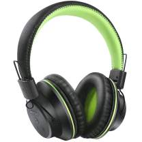 Bluetooth Headphones, BestGot S1 Wireless Headphones Over Ear, 50mm Stereo Driver Foldable Headset for 20 Hours, Soft Memory-Protein Earmuffs, Built-in Mic for PC/Phone/Tablets/TV (Black/Green)
