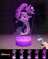 USLINSKY 3D Mermaid Gifts Toys Decor LED Night Light with Remote Control, 7 Colors RGB Bedside Lamp, Smart Touch Adjustable Brightness Birthday Party Decorations Present for Baby Boys Girls Women Men