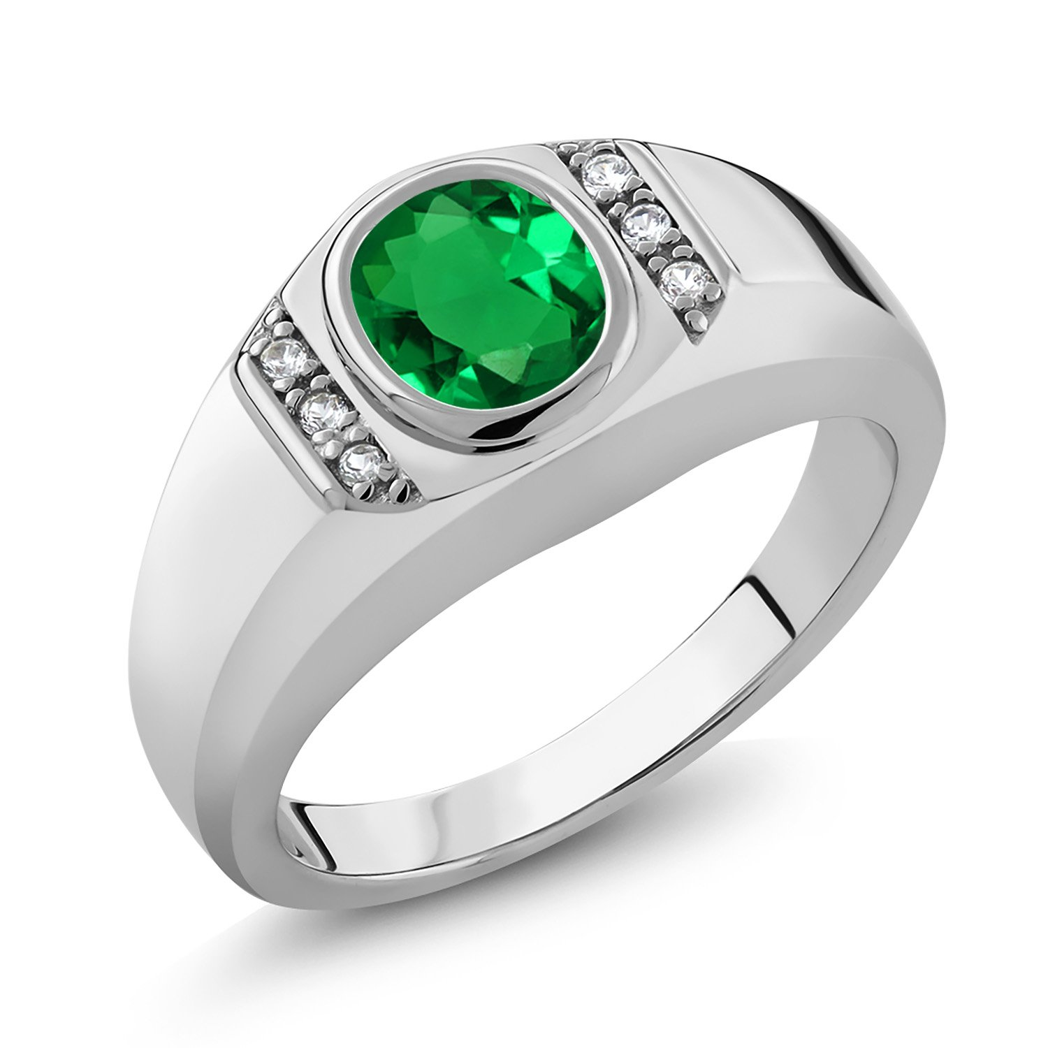 Gem Stone King 925 Sterling Silver Green Simulated Emerald and White Created Sapphire Men's Ring (1.06 Cttw, Available in size 7, 8, 9, 10, 11, 12, 13)