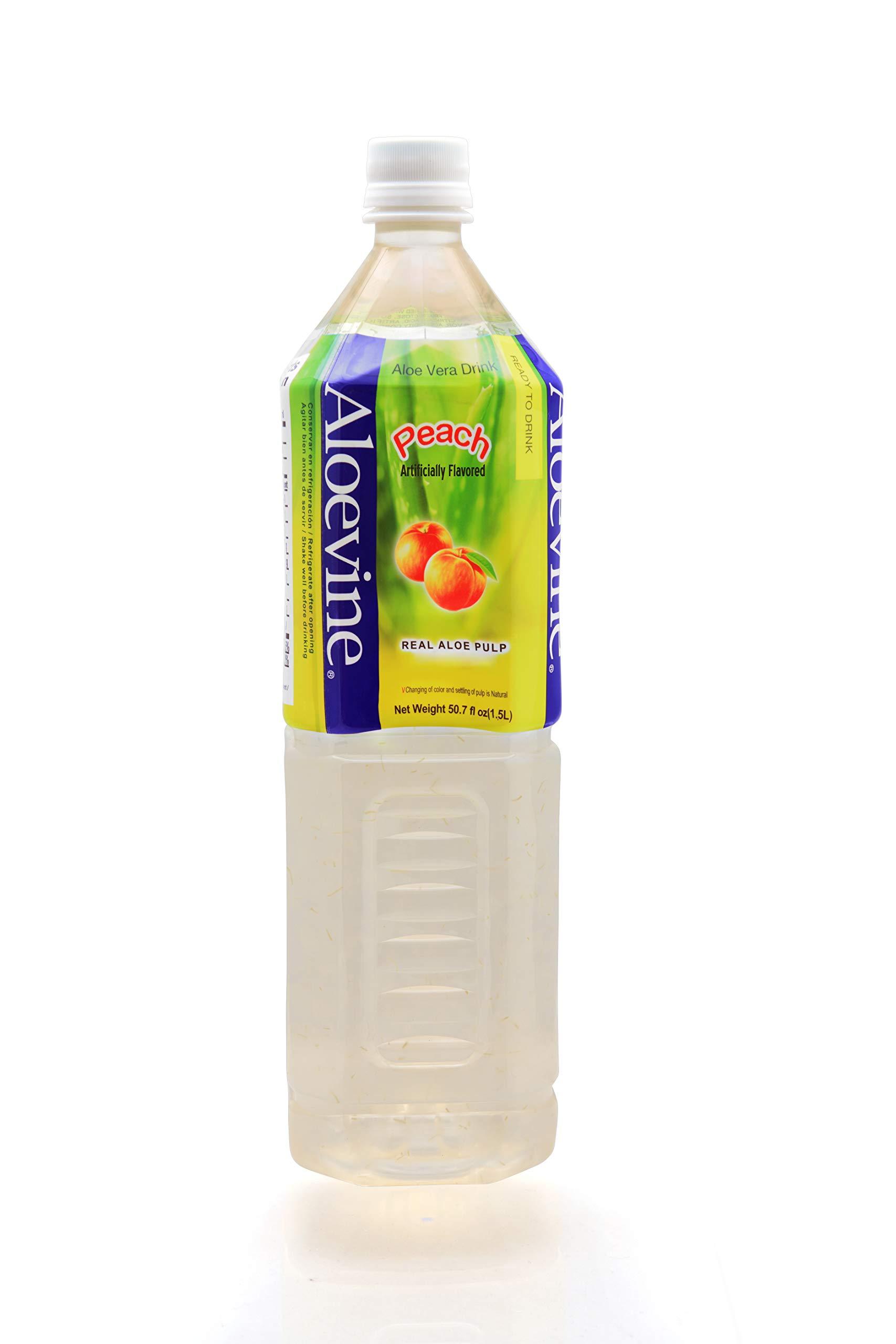 Aloevine Aloe Vera Juice Drink, Peach 50.7 Ounce (Pack of 12)
