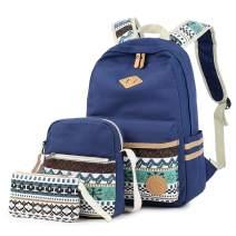 Lmeison Cute Backpack for Women Girls, School Bookbag with Shoulder Bag Pencil Case, Canvas Travel Daypack 14inch Laptop Bag for Middle School, Blue