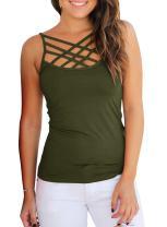 Womens Criss Cross Tank Tops Spaghetti Strap Open Back Sleeveless Cami Shirts