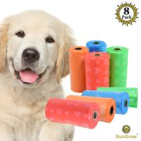 Biodegradable Dog Waste Bags, 8 Refill Rolls of 15 unscented Poop Bags, Thick and Leak-Proof, Fits Standard Poop Dispenser, Unscented, Ideal for Sensitive Pets, Eco-Friendly