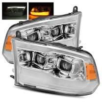 Modifystreet Chrome For 09-18 Ram 1500/10-18 Ram 2500/3500 DRL/Signal LED Dual Projector Headlights