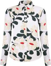 DOKKIA Women's Tops Vintage Casual Shirts Cotton Long Sleeve Work Button Up Dress Blouses (Hibiscus Floral White Green Red, X-Large)
