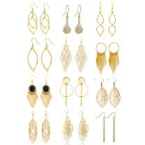 FUNOJOY 12 Pairs Drop Dangle Earrings Gold Plated Ethnic Bohemian Fashion Jewelry Long Bar Double Twist Wave Curved Lightweight Leaf Earrings Set for Women Gift