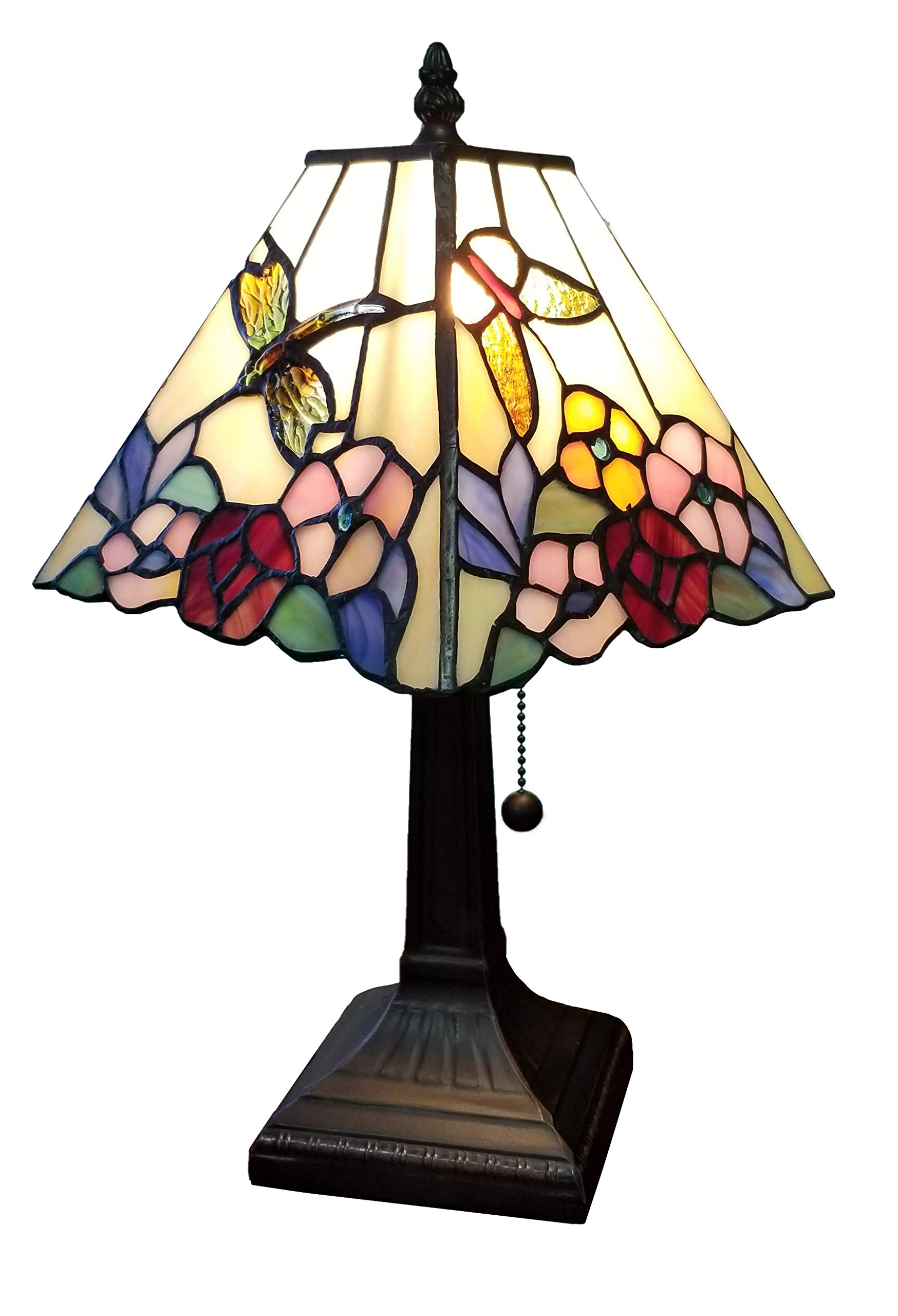 """Amora Lighting Tiffany Style Mini Accent Lamp Mission 15"""" Tall Stained Glass Red Floral Flower Hummingbird Butterfly Vintage Antique Light Décor Living Bedroom Handmade Gift AM248TL08B, Multicolor"""