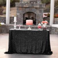 60 x 108-Inch Black Sequin Tablecloth Rectangle Glitter Table Cover for Wedding Christmas Event Decoration Photography Backdrop