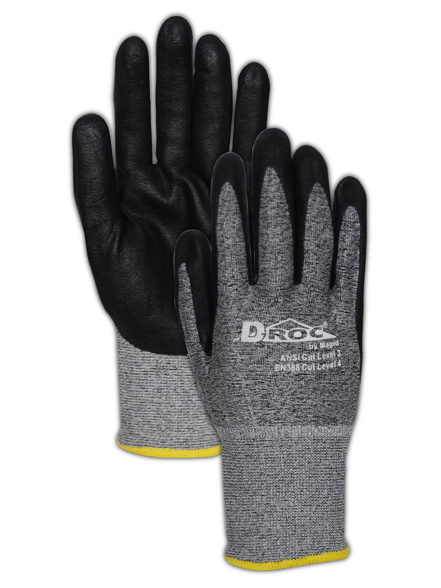 Magid Glove & Safety GPD583-12 D-ROC GPD583 18-Gauge HPPE Blend Micro-Foam Nitrile Palm - Cut Level 3, ANSI Abrasion 4, Blended Micro-Foam Nitrile, Size 6, Black/Grey (12 Pairs)