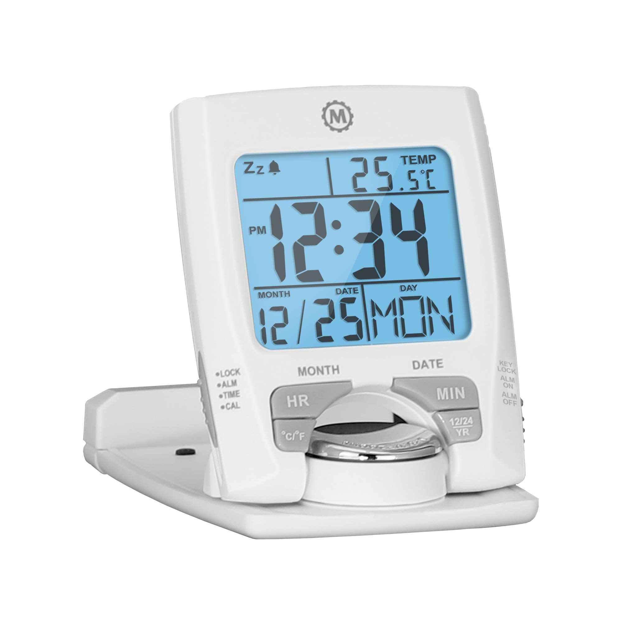 Marathon Travel Alarm Clock with Calendar & Temperature - Phone Stand Function - Battery Included - CL030023WH (White)