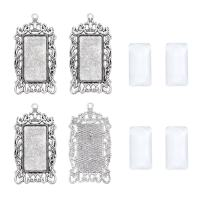 Pandahall 6Sets Tibetan Style Alloy Rectangle Pendant Cabochon Bezel Tray Blank Setting Antique Silver for DIY Pendant Makings Tray: 38x19mm/1.5x0.75inch