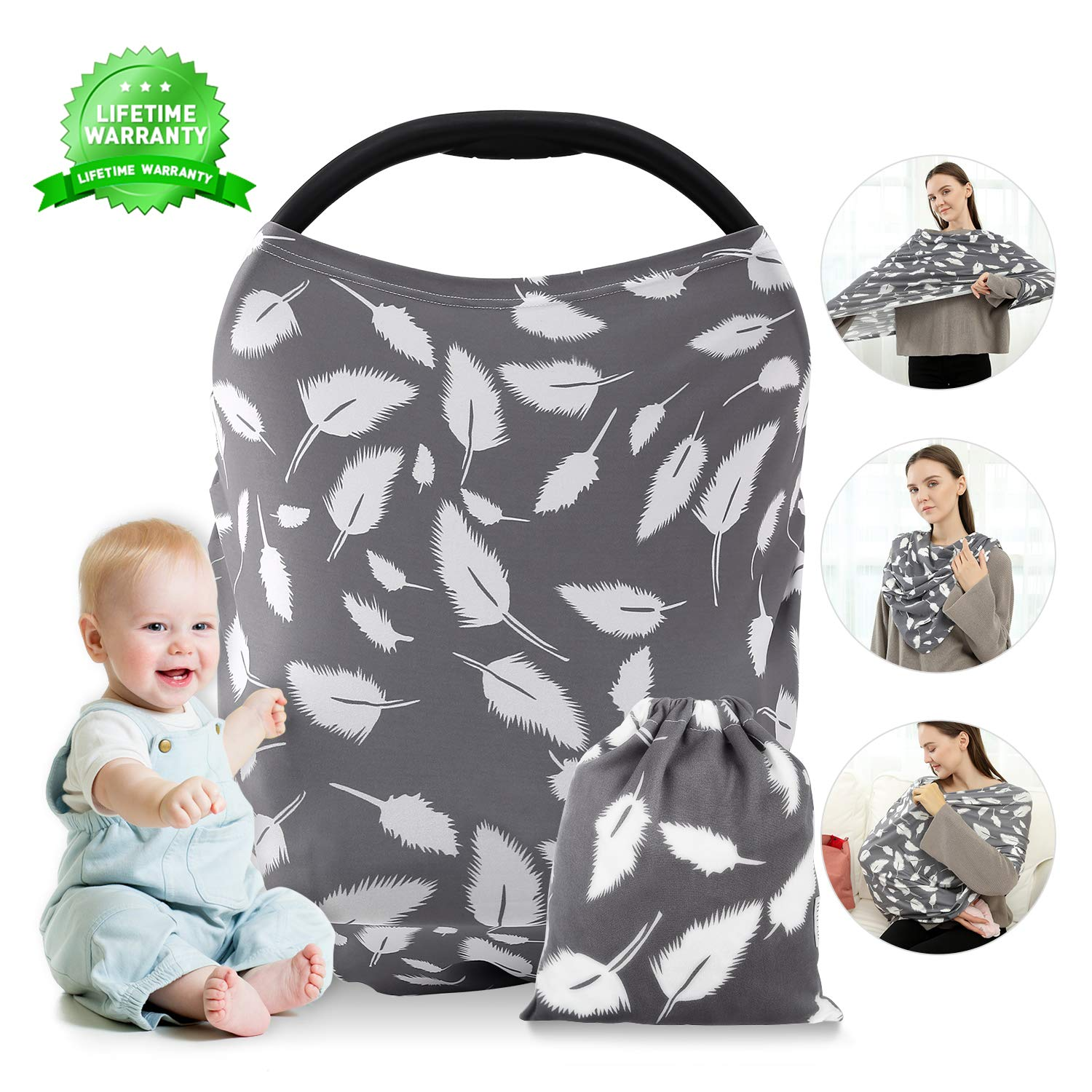Nursing Cover, Breastfeeding Cover, Carseat Canopy, Car Seat Covers for Babies Stretchy Premium Soft Cover with Multi-Use for Stroller, Scarf, Shopping Cart, Baby Shower Gifts for Boys&Girls (Leaves)