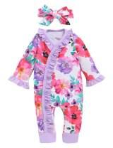 Happidoo Baby Girl Floral Jumpsuit Cotton Long Sleeve Romper with Headband