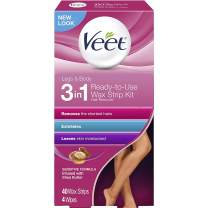 Veet Leg & Body Hair Removal Kit- Sensitive Formula, Ready-to-use Cold Wax Strips, Shea Butter & Acai Fragrance, 40 Count (Pack of 6)