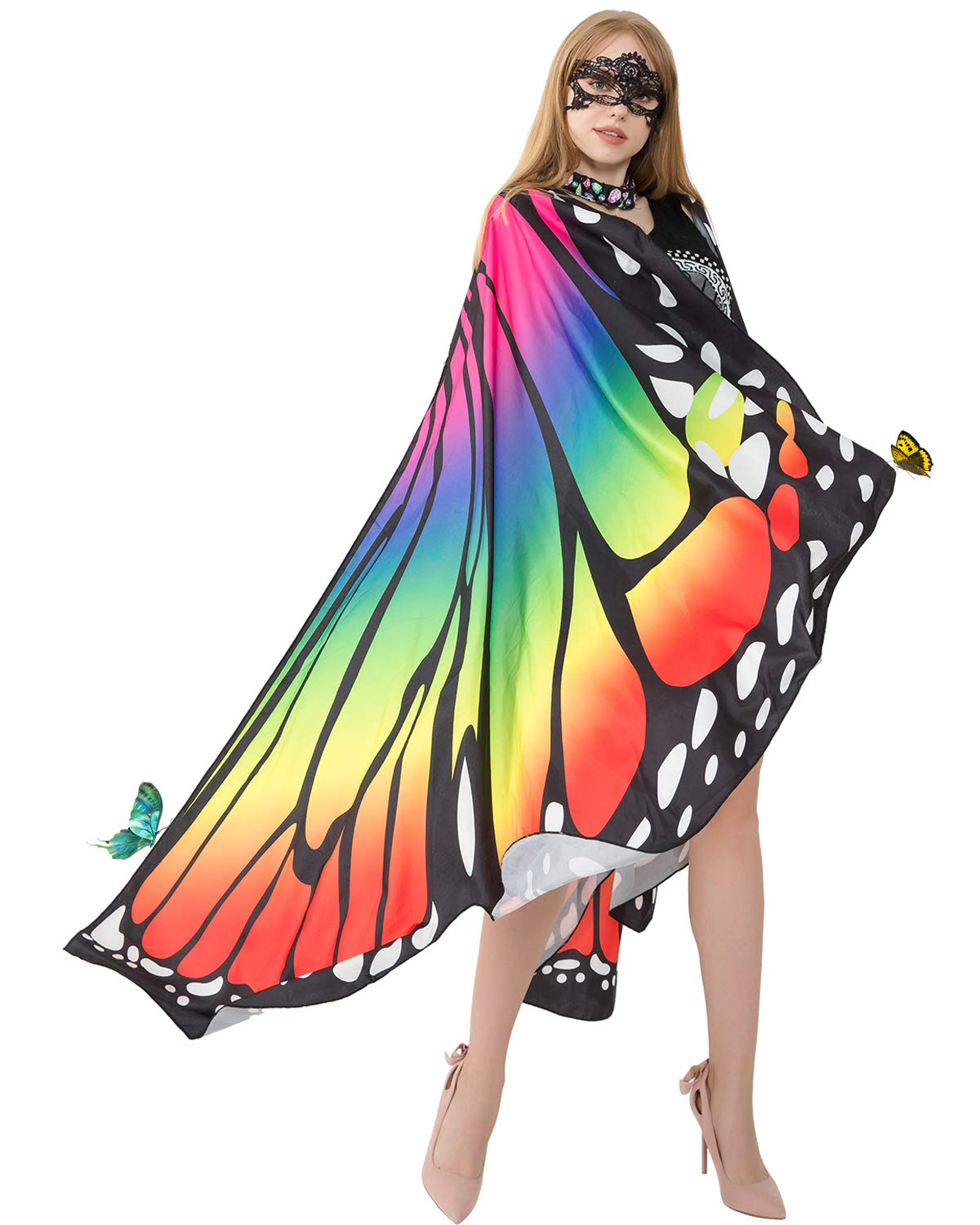Halloween Soft Fabric Butterfly Wings Shawl with Mask for Women Fairy Ladies Cape Cloak Nymph Pixie Costume Accessory