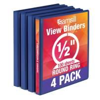 Samsill Economy 3 Ring Binder Organizer, .5 Inch Round Ring Binder, Customizable Clear View Cover, Blue Bulk Binder 4 Pack