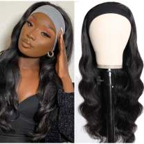 Headband Wig Human Hair Body Wave Human Hair Wigs for Black Women Glueless None Lace Front Wigs 150% Density (24 Inch)