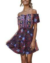 LANISEN Women's Sexy Off Shoulder Floral Print Short Sleeve A-Line Beach Mini Dress