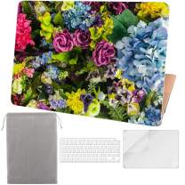 Sykiila for 2020 2019 New MacBook Air 13 Inch Case Model A2179 A1932,with Touch ID & Retina Display 4 in 1 Hard Cover & Keyboard Cover & HD Screen Protector & Sleeve - Colorful Flower