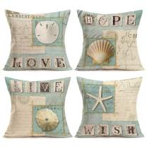 Asamour Ocean Park Theme Cotton Linen Throw Pillow Case Marine Life Starfish Shell with Warm Words Decorative Cushion Covers Pillowcase for Sofa Couch Set of 4 Love,Hope,Live,Wish