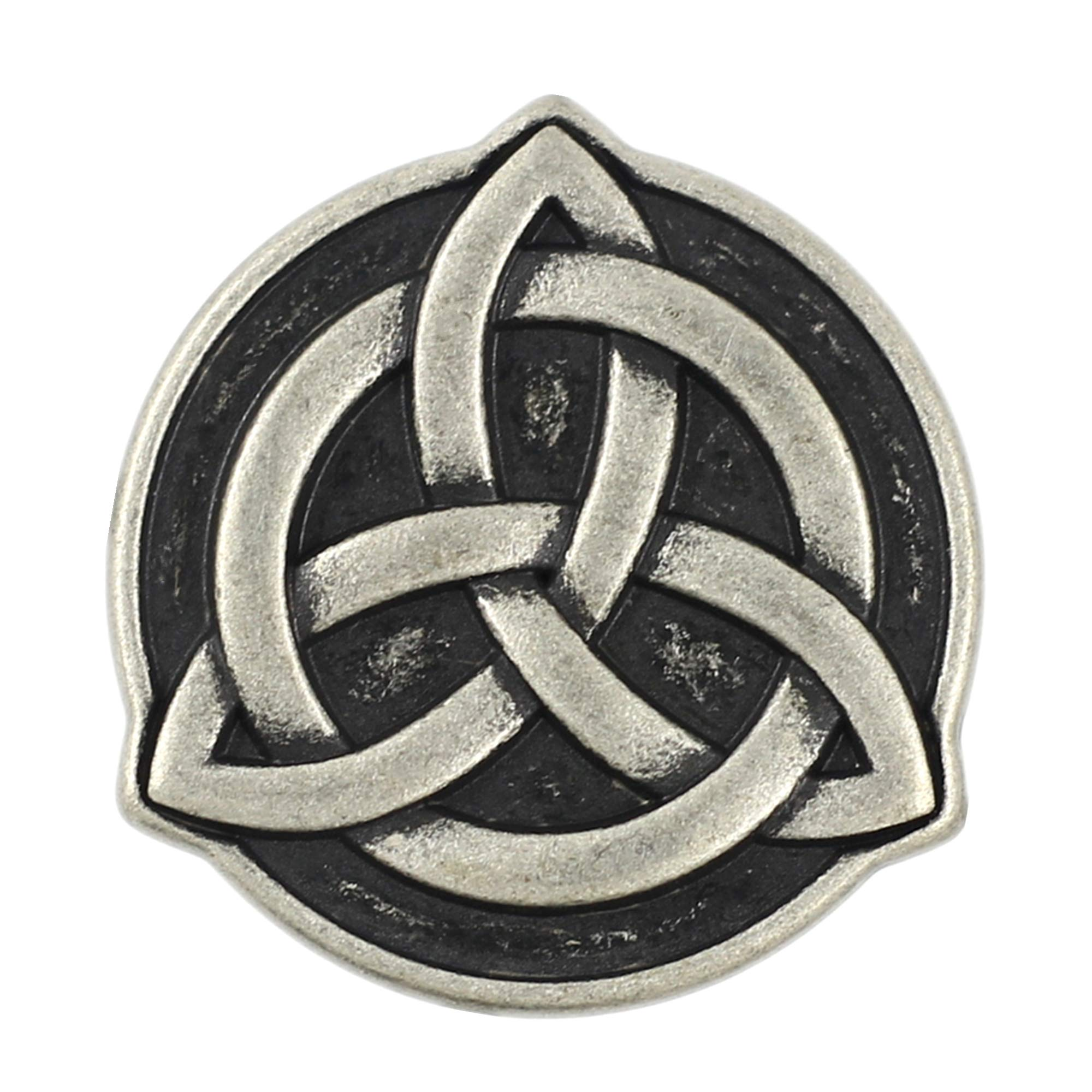 Bezelry 10 Pieces Celtic Trinity Knot Metal Shank Buttons. 22mm (7/8 inch) (Antique Silver)