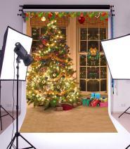 Laeacco Christmas Tree Vinyl Backdrop 3x5ft Merry Christmas Photography Background Swanky Indoor Room Glittering Gift Tree 1x1.5m Photo Studio Props