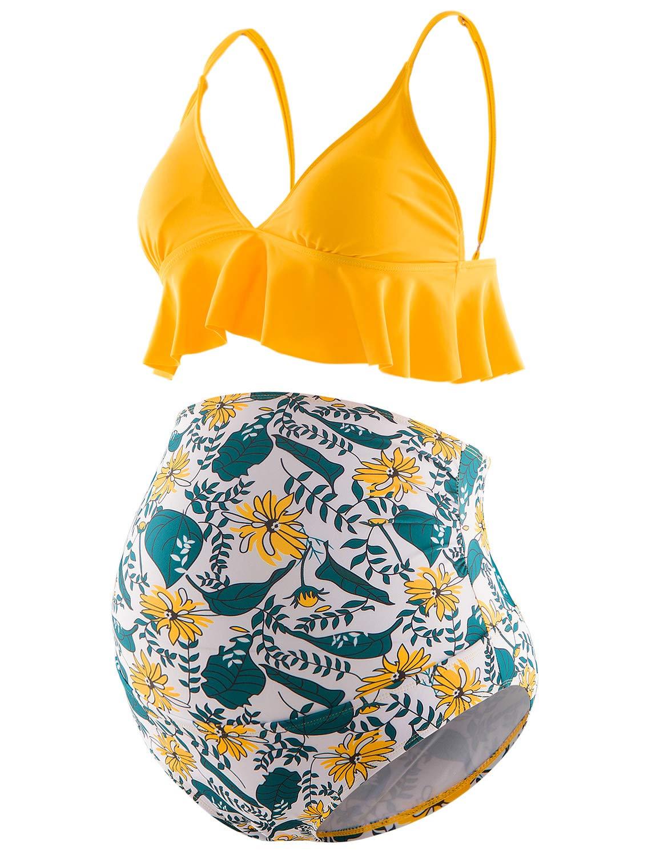 Bhome Maternity Two Pieces Bikini Set High Waisted Swimsuit Ruffle Summer Swimwear