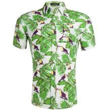 XI PENG Men's Hawaiian Shirt Floral Print Casual Button Down Short Sleeves Aloha Beach Shirt