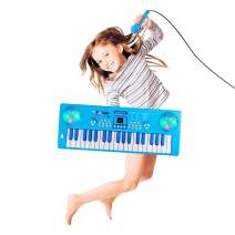 M SANMERSEN Kids Piano Keyboard, 37 Keys Portable Electronic Musical Instrument Keyboard Piano with Microphone for Kids Early Learning Birthday Christmas Day Gifts for Kids