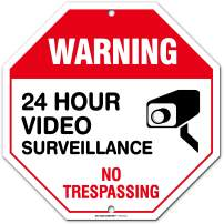 """No Trespassing Warning 24 Hour Video Surveillance Sign, Orange Octagon Shaped, Made Out of .040 Rust-Free Aluminum, Indoor/Outdoor Use, UV Protected and Fade-Resistant, 11"""" x 11"""", by My Sign Center"""