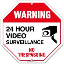 "No Trespassing Warning 24 Hour Video Surveillance Sign, Orange Octagon Shaped, Made Out of .040 Rust-Free Aluminum, Indoor/Outdoor Use, UV Protected and Fade-Resistant, 11"" x 11"", by My Sign Center"