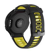 NotoCity Compatible with Forerunner 220 Watch Bands Black Buckle Sport Silicone Watch Strap Replacement for Forerunner 230/220/235/620/630/735XT and Approach S20/S5/S6 Smartwatch (Black-yellow)