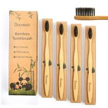 IMNEXT2U Bamboo Eco Friendly Toothbrush Charcoal Infused, Medium Soft Bristle, Biodegradable, Organic Vegan, Travel Wood Tooth Brush for Adult, Pack of 4