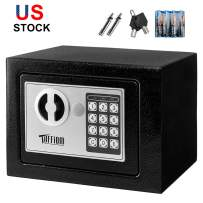 TUFFIOM Mini Safe, Electronic Digital Security Safe Box, Password Keypad & Key Lock, for Home Office Hotel Business Use, Jewelry Gun Cash Valuables Storage, Solid Steel with 4 Batteries