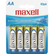 Maxell 723410P Ready-to-go Long Lasting and Reliable Alkaline Battery AA Cell 10-Pack with High Compatibility
