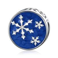 DALARAN 925 Sterling Silver Charms Christmas Snowflake Bead Pendant Fit Charms Bracelet Necklace