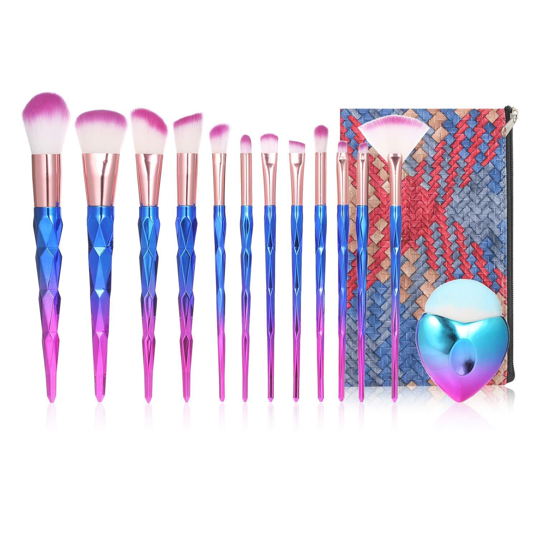 Anself Cosmetic Brushes Set,13Pcs Makeup Brush Kit for Foundation Eyebrow Eyeliner Blush Cosmetic Concealer with Travel Bag