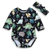 YOUNGER TREE Infant Baby Girl Dinosaur Plant Romper Long Sleeve Cartoon Print Onesies with Headband 2Pcs Outfits Clothes